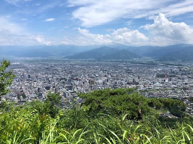 旭山城からの善光寺平の眺望