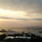 夕日と伊江島