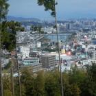 北東曲輪からの眺め。写真奥は鏡川橋。