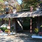 山麓の信長公居館に続く冠木門(模擬)。菊花展開催中のため菊人形の門番も
