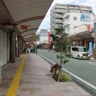 浅間通りの商店街。この先に浅間神社があり、その先に賤機山城。