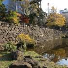 心字池(堀跡)と石垣