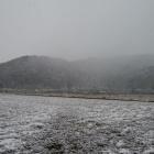 雪の安土城(南から)