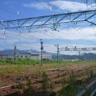 御館跡から見た春日山城。右側のちょっとだけ高い山です。