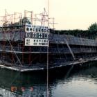 ④巽櫓復元前には石垣の補強修理工事が行われていました。昭和62年撮影。