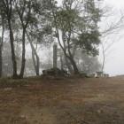 霧で掠れた本丸と城碑