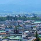 飯盛山より会津若松城を望む