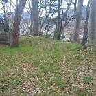 社裏のわずかな高みが土塁の跡。
