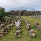 一の郭には発掘中の石垣が並べられていました