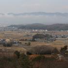 秀吉本陣跡から見た高松城跡