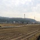 高松城から見た秀吉本陣跡の石井山