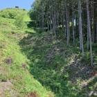 正面の大竪堀と展望台(頂上)