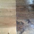 右が四百年前のままの床木材の
