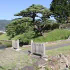 大手土橋と水堀、土塁を見る