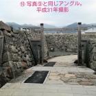⑩枡形石垣は昭和62年に修理されています。桜の木は石垣に影響を及ぼすため勿体無いですが、伐採されました。