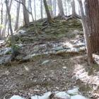 広範囲に積まれた石積み(自然崩落気味で土嚢処置されていた)