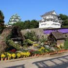 名古屋城と合掌造りの家