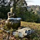 主郭の石像(後方山頂に阿坂城)
