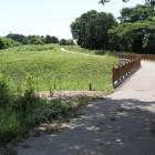 本城郭と蔵郭間の木橋と下は畝掘り草で良く分からず