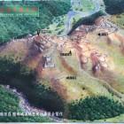 バス停に有る芥川山城想像図