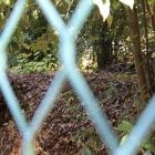 金網フェンス越しの土塁