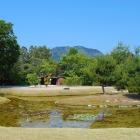 池泉庭園と遠くに高嶺城