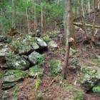 あちこち断片的に残る石積み(曲輪群)
