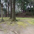権現曲輪。奥にある神社は北条早雲によって祭られた熊野神社。