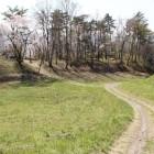 西山砲台、右手奥が大手門跡と土塁、中間が砲台登城路