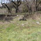 二の丸西端の土塁、石積
