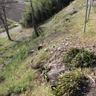 愛知川に降りる下段段丘、一部残渣石垣