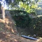 三ノ丸西側下の空堀・石垣