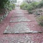 直線大手道左右石垣、石敷道は後世の公園化による