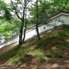 忍城址公園につくられた土塁と塀