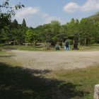 陣屋内部、遠くに撮影用十兵衛人型
