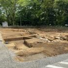 タクシー乗り場の前が発掘中でした。