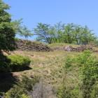 登城路より東郭東面の石垣を見る