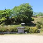 駐車場より赤木城を仰ぎ見る、上の石垣は東郭