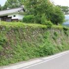 西高木家登城路石垣、上から長屋門と一緒に
